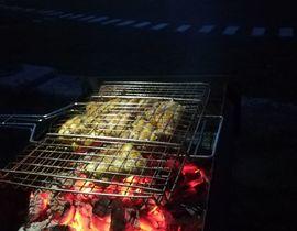 Рыба жарится на огне